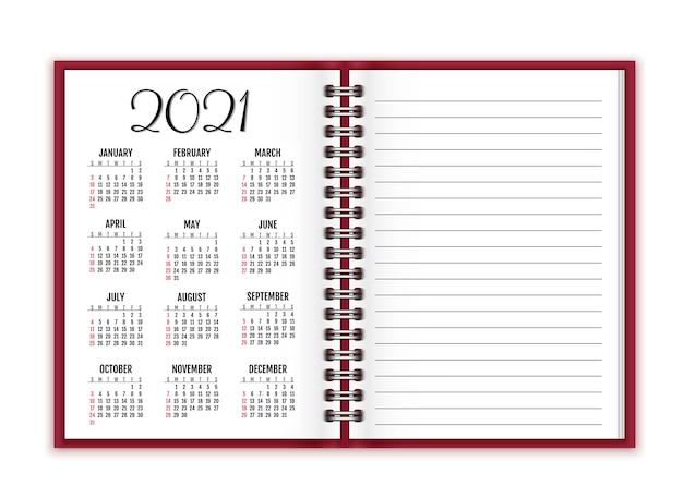 Notizbuchpapier mit kalender für das neue jahr