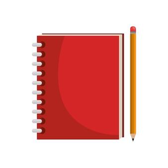 Notizbuchschule lokalisierte ikonenvektor-illustrationsdesign