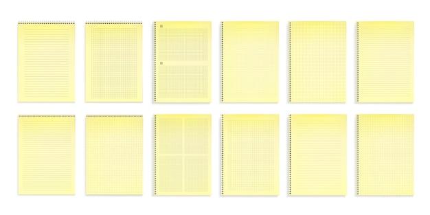 Notizbücher mit gelbem papier in linien, punkten und quadratischen gittern