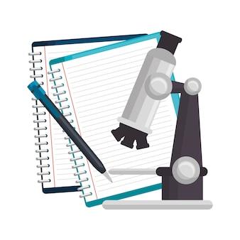 Notizbücher stift und mikroskop
