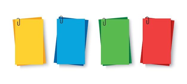 Notizen farbige klebrige papiere mit pin-clips memo