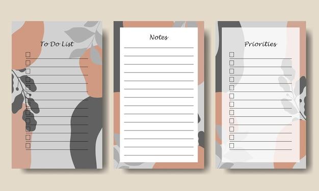 Notizen-to-do-listenvorlage mit grau-orangefarbenem abstraktem hintergrund zum ausdrucken