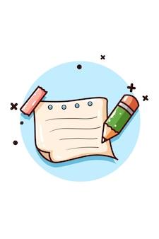 Notizpapier und bleistiftillustration