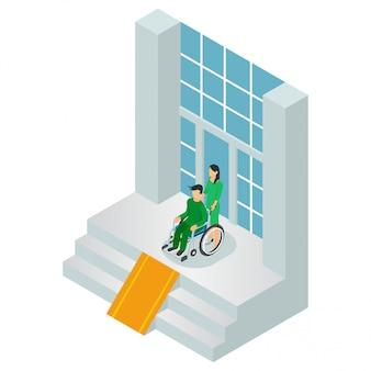 Notkrankenhauseingang mit den patienten getrennt