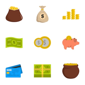 Notwendig bedeutet icons gesetzt. flacher satz von 9 notwendigen mitteln ikonen