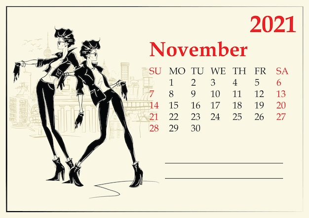 November. kalender mit mode-mädchen im skizzenstil.