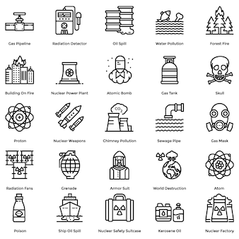 Nuclear elements line icons pack