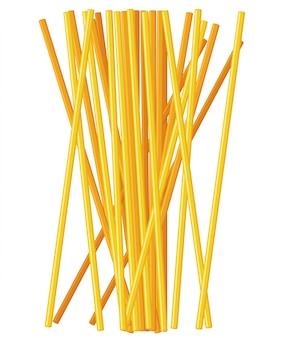 Nudelrolle auf der gabel. italienische pasta mit gabelschattenbild. schwarze gabel mit spaghetti auf dem gelben hintergrund. hand hält eine gabel mit spaghetti.