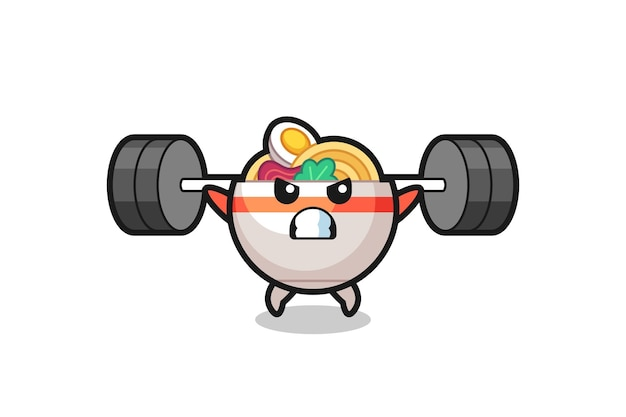 Nudelschüssel-maskottchen-cartoon mit einer langhantel, süßes design für t-shirt, aufkleber, logo-element