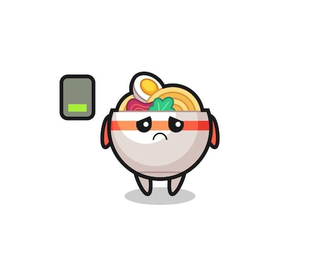Nudelschüssel-maskottchen-charakter, der eine müde geste macht, süßes stildesign für t-shirt, aufkleber, logo-element