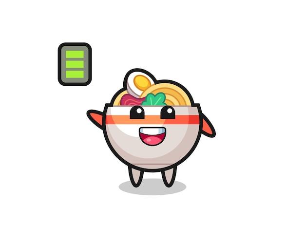 Nudelschüssel-maskottchen-charakter mit energischer geste, süßem stildesign für t-shirt, aufkleber, logo-element