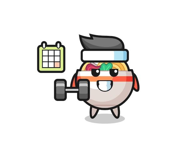Nudelschüssel-maskottchen-karikatur, die fitness mit hantel macht, niedliches design für t-shirt, aufkleber, logo-element