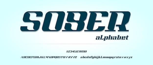 Nüchternes, modernes kreatives alphabet mit städtischer stilschablone