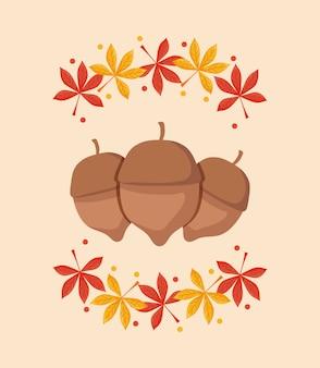 Nüsse für erntedankfest mit blättern