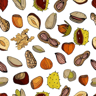 Nüsse nahtlose muster haselnüsse kastanien erdnüsse walnüsse pistazien auf weißem hintergrund
