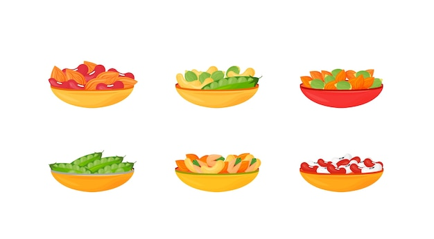 Nüsse und bohnen und samen in schalen cartoon illustrationen gesetzt. flache farbe objekt von pistazien, mandeln, erbsen und cashewnüssen. proteinquellen.