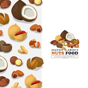 Nüsse und samen illustration. flacher stil. nussnahrung aus cashew und brasilien, haselnuss und mandeln, walnuss, muskatnuss und anderen. kokosnuss.