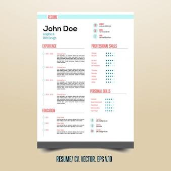 Nützliche lebenslauf vorlage mit infografik-elemente