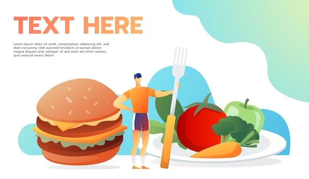 Nützliches und nutzloses essen. mann beschließen zu essen