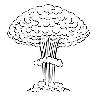 Nukleare explosion der comicart auf weißem hintergrund. element für plakat, karte, banner, flyer. illustration