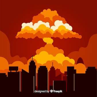 Nukleare explosion in einer stadtkarikaturart