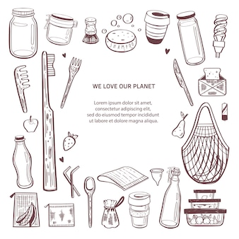 Null abfall hand gezeichnete infografik hintergrund. sammlung von öko und natürlichen elementen