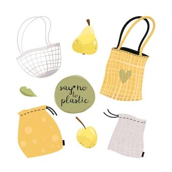 Null abfall lebensstil elemente einkaufstüte, öko-tasche, öko-tasche, einkaufen. plastik frei. geh grün.