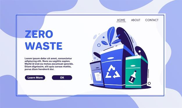 Null abfall lebensstil. keine plastik-, müllsortierungskampagnen-symbolaufkleber. öko-tasche, tasse und flasche. design-layout des naturschutzbanners