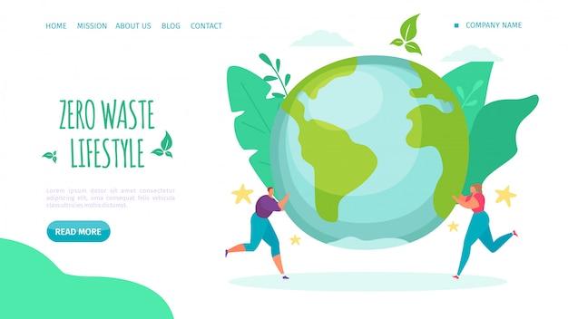 Null abfall lebensstil, landung illustration. helfen sie dem lebensstil der umwelt, reduzieren sie plastik und kümmern sie sich um die webseite des planeten.