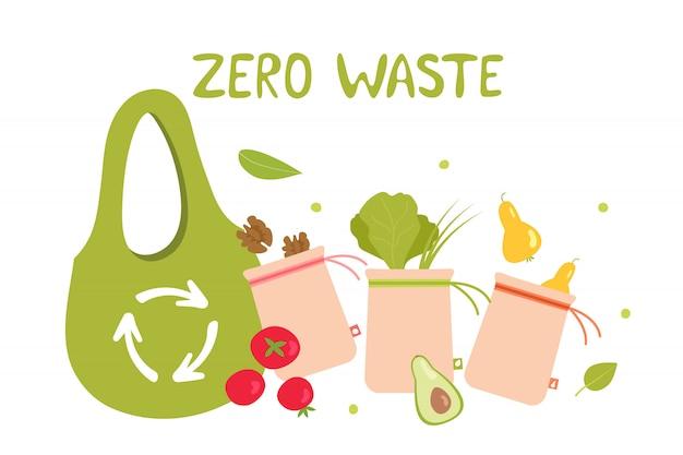 Null-abfall-öko-einkaufstüte