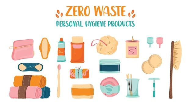 Null abfall persönliche hygieneset. sammlung von öko-elementen für menschen, die sich für ökologie interessieren. umweltfreundliche versorgung für bad und selbstpflege.