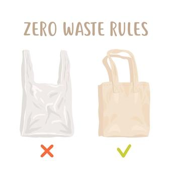 Null-abfall-regeln. einwegverpackung gegen wiederverwendbare baumwolltasche. weniger plastik Premium Vektoren