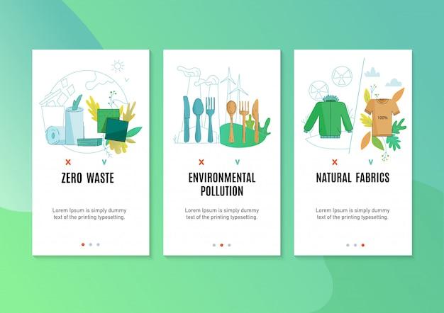 Null abfall umweltfreundliche naturprodukte förderung 3 flache vertikale banner mit textilen haushaltsreinigern