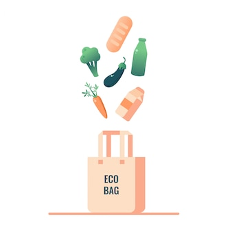 Null abfallendes lebensmittel fällt in den umweltbeutel.