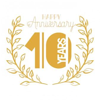 Nummer 10 für jubiläumsfeier emblem oder abzeichen