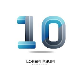 Nummer 10 logo bunter farbverlauf