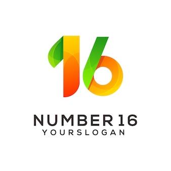 Nummer 16 bunte logo-design-vorlage