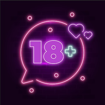 Nummer 18+ im neonstil