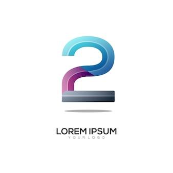 Nummer 2 logo bunter farbverlauf
