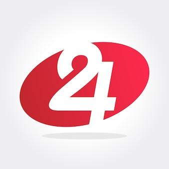 Nummer 24 symbol in ovaler form