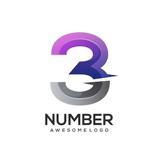 Nummer 3 logo bunter farbverlauf
