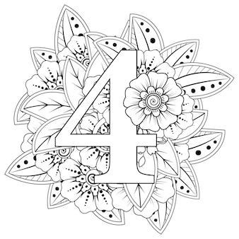 Nummer 4 mit dekorativem ornament der mehndi-blume im ethnischen orientalischen stil malbuchseite