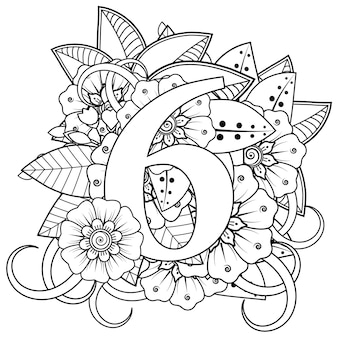 Nummer 6 mit dekorativem ornament der mehndi-blume im ethnischen orientalischen stil malbuchseite
