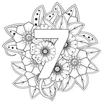 Nummer 7 mit dekorativem ornament der mehndi-blume im ethnischen orientalischen stil malbuchseite