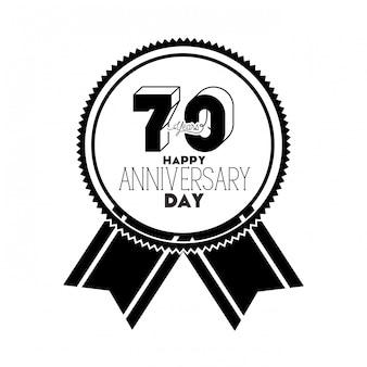 Nummer 70 für jubiläumsfeier emblem oder abzeichen