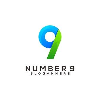 Nummer 9 bunte logo-design-vorlage