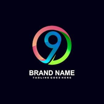 Nummer 9 im kreis-logo-design