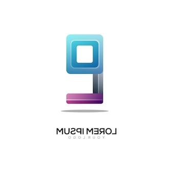 Nummer 9 logo bunter farbverlauf