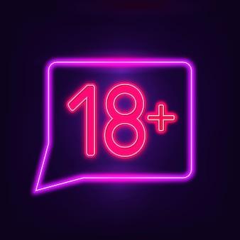 Nummer achtzehn plus im neon-zeichen Kostenlosen Vektoren