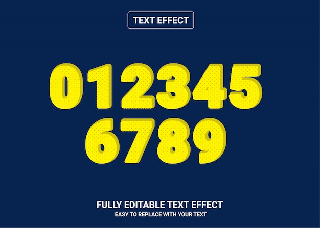 Nummer bearbeitbarer textstileffekt